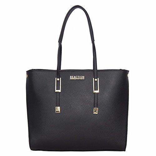Kenneth Cole Reaction KN1949 Clipped Women's Tote, Shopper Handbag (BLACK) - Open Top Shopper
