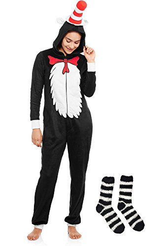 Women's Dr. Seuss Cat in the Hat Minky Union Suit Gift Set with Minky Socks (S/4-6, Black & White (Make Dr Seuss Hat)