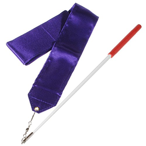 4M 8colores Gimnasio Baile Lazo Streamer Baton Twirling caña rítmica Art Gimnasia Azul azul Talla:4 m Morado