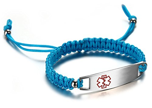 JF.JEWELRY 12 mm Medical Alert Bracelet for Kids with Nylon Braided Band, Free Engraving, Lake Blue