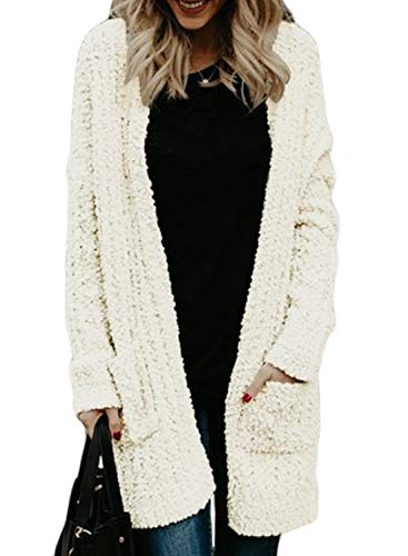 HOTAPEI Womens Ladies Winter Warm Oversized Baggy Fleece Open Front Maxi Long Cardigan Sweaters for Women Long Sleeve Loose Outerwear Sweaters Coat with Pockets White XL