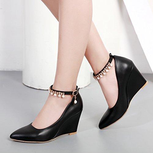 YE Damen Keilabsatz Pumps Knöchelriemchen Spitze High Heels mit Riemchen Elegant Schuhe Schwarz