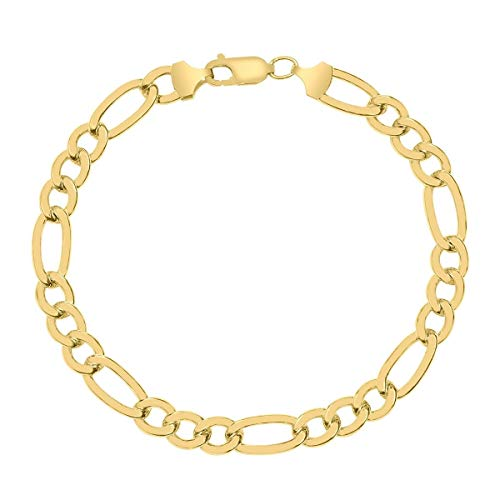 - 10K Yellow Gold 8.0mm Thick Figaro 3+1 Link Chain Bracelet- Sturdy Lobster Lock Closure- Made in Italy (8.5)