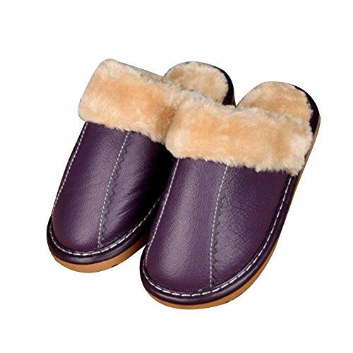 TELLW Leder jungen und M?dchen Kinder Kinder Baumwoll Pantoffeln M?nner und Frauen nach Hause rutschfeste warm Indoor Holzfu?b?den Home Pantoffeln Winter M?dchen lila