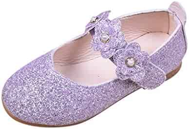 b7b118586f4 Princess Shoes for Toddler Girls Sequin Flat Shoes Sparkle Velcro Toddler  Girls Dance Shoes Mary Jane