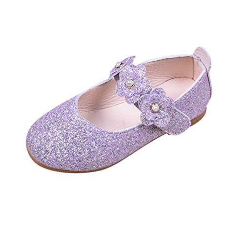 Toddler Girl Soft Sole Crib Shoes Sequins Fashion Baby Princess Dress Mary Jane Flat Shoes (Purple, 9Years) ()