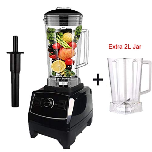 (2200W Heavy Duty Commercial Blender Professional Blender Mixer Food Processor Japan Blade Juicer Ice Smoothie Machine,Black extra jar,C,EU Plug )