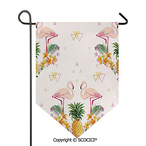 SCOCICI Easy Clean Durable Charming 28x40in Garden Flag Geometrical Pine and Flamingos Tropical Summer Fruit Pool Party,Orange Green Light Pink Double Sided Printed,Flag Pole NOT Included
