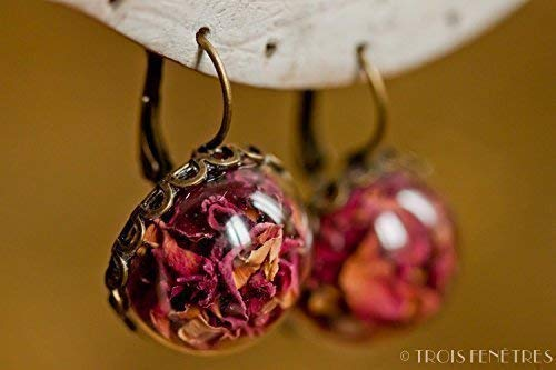 Regalo originale para mujer Pendientes de p/étalos de rosa Joya flores secas naturales -Regalo boho vintage bot/ánico -semiesfera de vidrio 20mm Aniversario