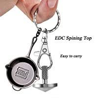 LEWEK Accurate Spinning Top with a PUBG Pan Keychain, Precision Stainless Steel Desk Spinner Toy, Portable Fidget Gyroscope,Vintage Totem Toy for Inception Top Fans,Unique Gift for Kids and Adults