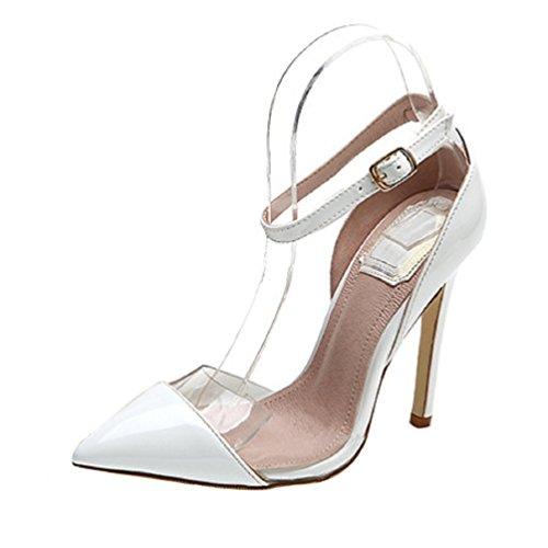 HooH Patent Strap Transparent Women's Stiletto Leather Ankle White Pumps rv65rXqw