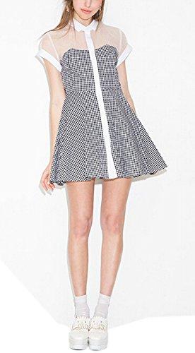 Moon Soul Women A-Line Gauze Matching Plaid Dress L