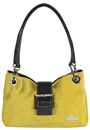 Suede LIATALIA Bag Small Cotton Trim Trim Italian Real Mustard Lining Faux Brown Yellow with Leather PIXIE rXqgErx