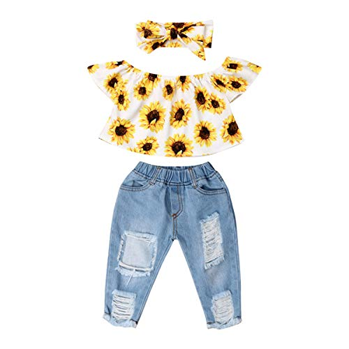 3Pcs Toddler Girl Sunflower Off Sloulder Top Ruffle Blouse + Blue Ripped Long Jeans + Yellow Bowknot Headband Sets (White-Sunflower, 2-3 T)
