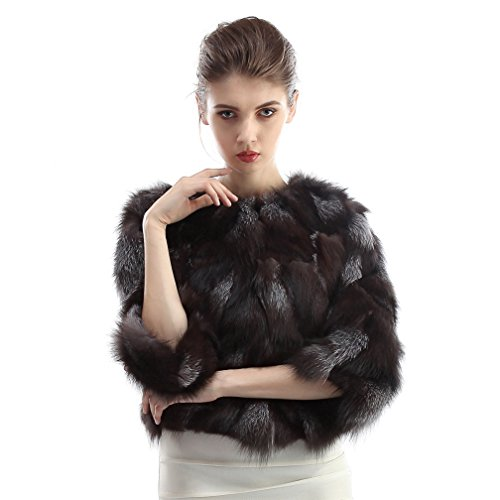 OLLEBOBO Women's Coat For Winter Genuine Fox Fur Knitted Coat without Belt Size 2XL Black by OLLEBOBO (Image #1)