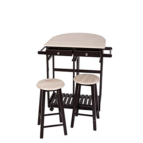 (Peach Tree 3-Piece Table Dining Set Home Kitchen Furniture Wooden Rolling Kitchen Trolley Cart Island Foldable Table Drop Leaf, Breakfast Bar, Dining Table Set w/2 Stools )