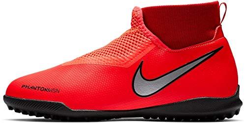 Nike Kids Unisex JR Phantom Vision Academy DF TF Soccer (Little Kid/Big Kid) Bright Crimson/Metallic Silver 5.5 M US Big - Full Stud Df