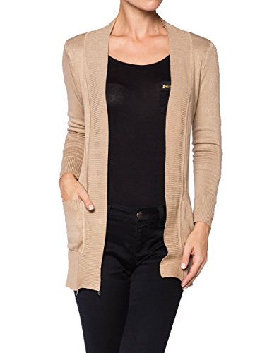A.S Womens Cotton Nylon Sweter Knit Open Front Cardigan (Large, Khaki)