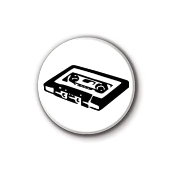 2,5 cm (25 mm) Alt cassette Button badge à épingle, noir