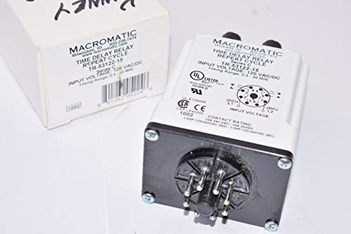 Contact Voltage MAX 240VAC Circuitry SPDT Contact Current AC MAX 5A Power Consumption 2.5VA 8 PIN Socket MACROMATIC TAD1U TIME DELAY Relay; TIME Range 10 MSEC to 9990 HRS