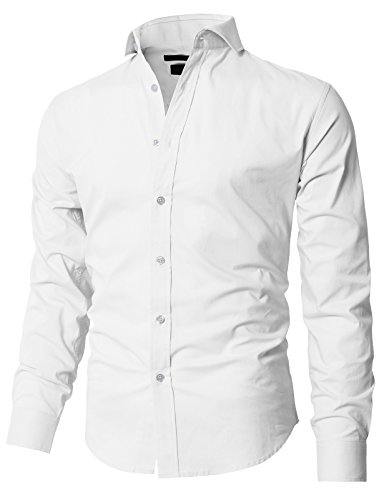 H2H Men's Poplin Fitted Solid Point Collar Dress Shirt White US L/Asia L (Wide Collar Poplin Shirt)