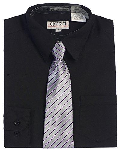 Black Dress Shirt Tie (Gioberti Big Boy's Long Sleeve Dress Shirt + Stripe Clip)
