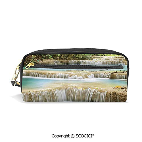 Fasion Pencil Case Big Capacity Pencil Bag Makeup Pen Pouch Water Falls into The Lake Through The Rock Stairs in The Forest Artwork Durable Students Stationery Pen Holder for School