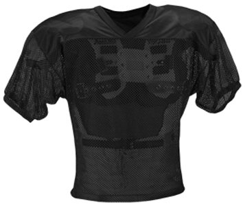 Youth Porthole Mesh (ADAMS USA FB Youth Jersey with Elastic Sleeve, Black, L)