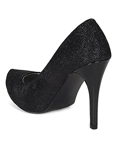 Pump Women Patent Glitter BI13 Stiletto Heel Toe Platform Qupid Black Almond Leatherette R7vqnx0