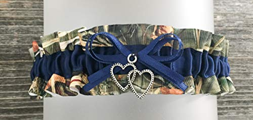 Camouflage Navy Blue Satin Camo Prom Wedding Keepsake Bridal Garter - Double Heart Charm