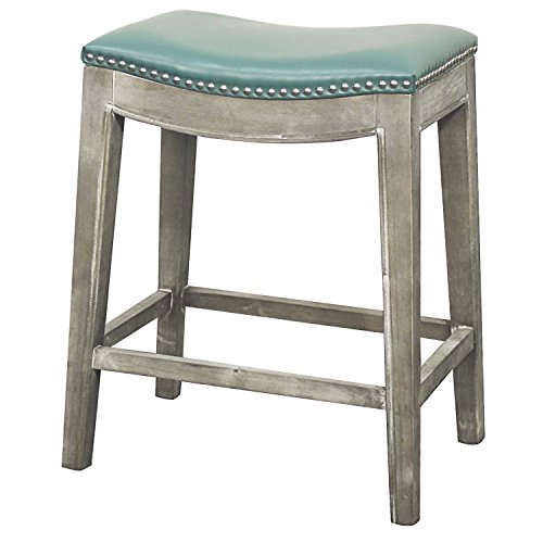 - New Pacific Direct Elmo Bonded Leather Counter Stool,Distressed Gray Legs,Turquoise