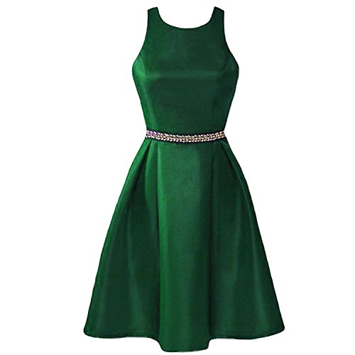 Lemai Short Satin Backless Halter Crystals Prom Bridesmaid Dresses Plus Size Emerald Green US 18W by Lemai