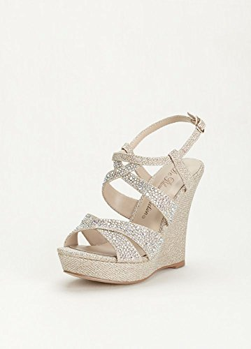 David's Bridal High Heel Wedge Sandal with Crystal Embellishment Style BALLE8, Nude Metallic, -