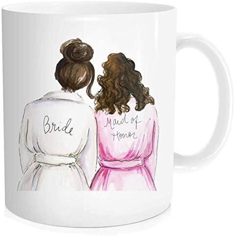 Bride Coffee Mug Bridal Shower Wedding Gift, Maid Of Honor Bestie, Best Friend Sister, White Fine Bone Ceramic 11 OZ