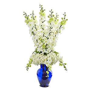 Artificial Flowers -Delphinium and Hydrangea White Arrangement in Blue Vase 56