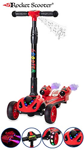 The Original Rocket Scooter, Kids Kick Scooter, Music, 3 Colors Lighted Wheels, Spray Lights, Sturdy Steering Handlebar, Stable Board, Adjustable Height & Foldable Design (Red)