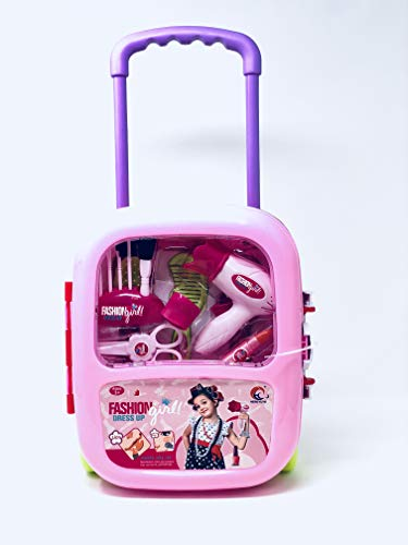 INCHOI JOYSAE Fashion Dress up Girls Beauty Salon Play Trolley case Set with Hairdryer, Curling Iron, Comb,ScissorsMirror & Cosmetics Utensils