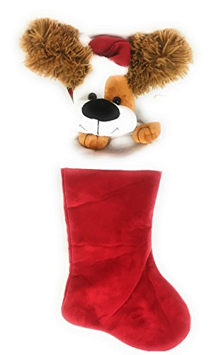 Christmas Stocking Ear-Flapping Animated Singing Dog Fun for All Ages Holiday Accent - Musical Christmas Stocking