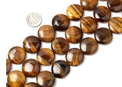 Emerald Flat Beads (AAA Natural Tiger Eye Gemstone 16mm Flat Round Loose Beads 15.5