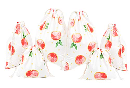 6PCS Cotton Linen Drawstring Storage Bag Pouch Bulk Sack Pull String Home Travel (F(Muslin)) ()