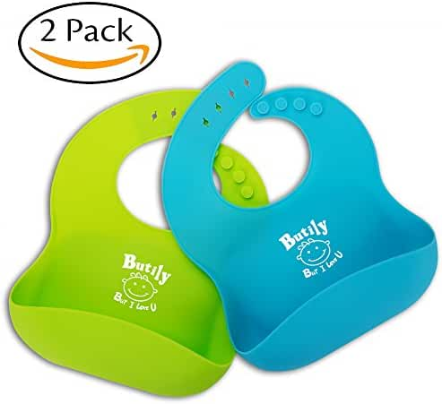 Butily Baby Bibs Waterproof Easily Clean!100% Food Grade Silicone!2 Colors