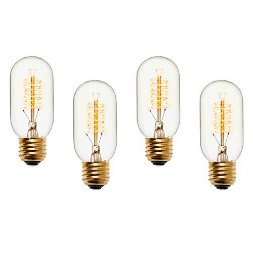 Edison Tubular T14 Vintage Bulbs, Fully Dimmable, Warm White, 40W (E26), Spiral Filament, Brooklyn Bulb Co. Kensington Design - Set of 4