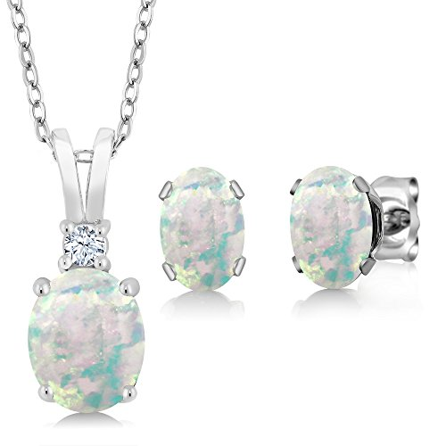 Gem Stone King 2.36 Ct Oval Cabochon White Simulated Opal 925 Sterling Silver Pendant Earrings Set