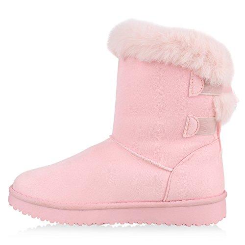 Damen Schlupfstiefel Warm gefütterte Stiefel Glitzer Boots Profilsohle Kunstfell Schuhe Strass Leder-Optik Stiefel Flandell Rosa Rosa
