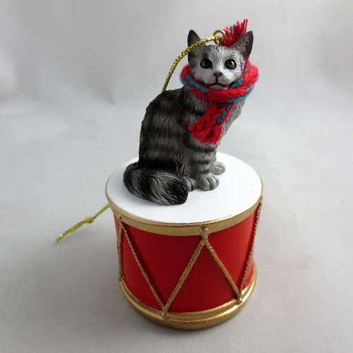 Little Drummer Maine Coon Silver Cat Christmas Ornament - Hand Painted - Delightful by Animal Den