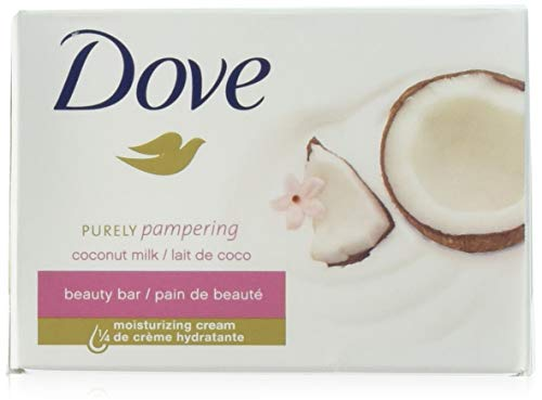 Dove Soap Beauty Bar, Coconut Milk Purely Pampering, 24-Pack. 25% Moisturizing Lotion & Cream. Hypo-Allergenic & Fragrance Free. Great for Hands, Face & Body! (24 Bars of Soap, 3.5oz Each Bar) ()