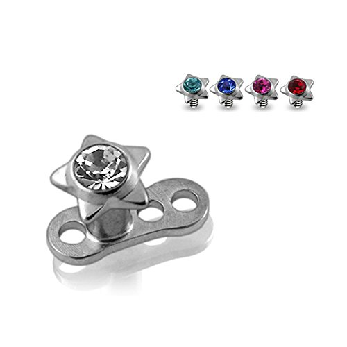 Buy 1 Get 5 !!! G23 Grade Titanium Base with 5 Pieces Changeable 316L Surgical Steel Top Dermal Jeweled Star All Color As Shown. by Dermal Anchors (Image #1)'