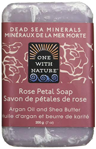 One With Nature Rose Petal Dead Sea Mineral Soap, 7 Ounce Bars (Pack of 6)