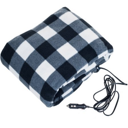 "Lazer Volt LV12VHB 12V Electric Heated fleece blanket ""59x45"" blue plaid Use for camping/travel Car, Truck, RV Vehicle, or when power outage can be used with the PWRBOX model# LVSH318"