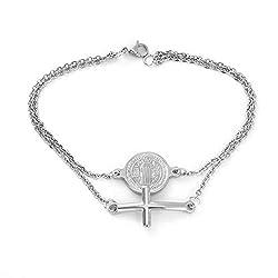 Friedman Catholicism Symbols Saint Benedict S Cross Stainless Steel Double Layer Bracelet